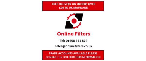 Online Filters Logo with telephone number, email address and trade account information