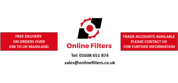 Online Filters Logo with Contact Details & Information for Free Delivery & Trade Accounts Available